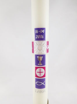 Kommunionkerze Kreuz lila / violett