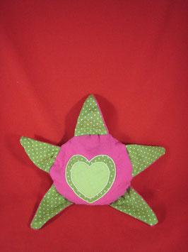 Bouillotte étoile coeurs verte rose