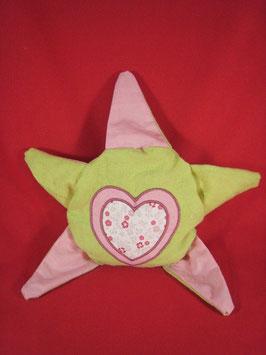 Bouillotte étoile coeurs rose verte