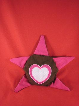 Bouillotte étoile marron rose