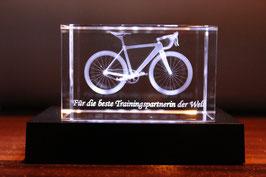 "Glasquader mit 3D-Rennrad ""beste(r) Trainingspartner(in)"" inkl. Leuchtsockel"