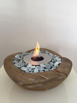 Teak-Holz Feuerschale Bioethanol