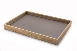 Tablett - Eiche & Möbellinoleum mauve 55x38