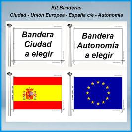 Banderas Ciudad - Comunidad - España c/e - Europea