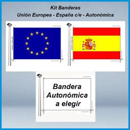 Kit Bandera Autonómica - España c/e - Europea