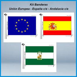 Banderas Andalucía c/e - España c/e - Europea