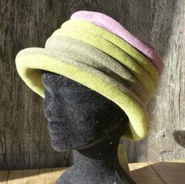 Chapeau en tissu polaire vert/kaki/violet