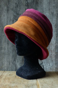 Chapeau en tissu polaire orange/bordeaux/fuchsia
