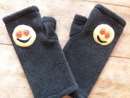 Mitaines grises avec déco Smiley