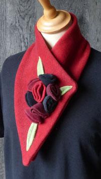 Col Echarpe Rouge-  boutons de roses Rouge/bordeaux/noir