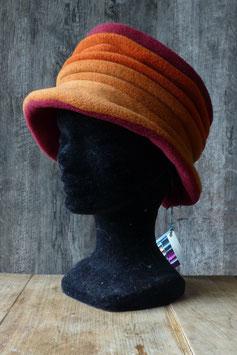 Chapeau en tissu polaire bordeaux/orange/orange clair