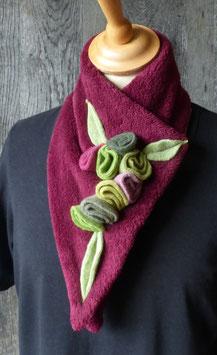 Col Echarpe Bordeaux - Boutons de roses verts
