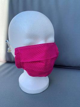 Mund - Nasenbedeckung pink mit Punkten, 2 - lagig, waschbar und mit Jersey Nudel