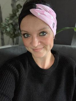 Turbanstirnband schwarz mit rosa