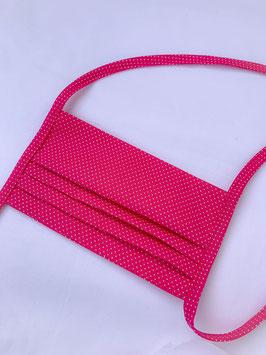 Mund - Nasenbedeckung 2 - lagig, pink mit Punkte, 100% Baumwolle