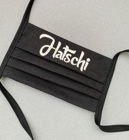 MUSCHUS (Mund - Nasenbedeckung), 2 - lagig in schwarz mit Plott HATSCHI in weiß