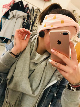 Twist Stirnband Rosa mit goldenen Tropfen