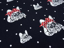 Baumwolljersey Franz. Bulldog schwarz weiß rot
