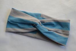 Turbanstirnband Streifen blau/grau