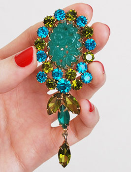 Juliana Jade Glass Brooch