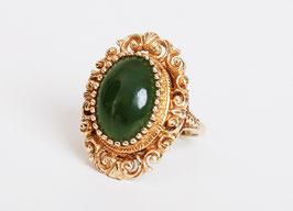 14k Gold Spinach Jade Ring
