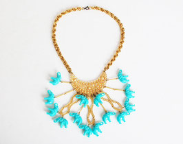 Blue Elephant Charm Gold Bib Necklace