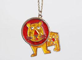 Gold Enamel Lion Pendant Necklace
