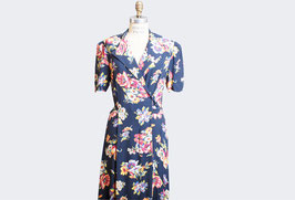 Navy Floral Wrap Dress