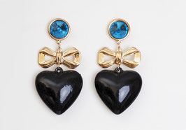 Bow Heart Charm Earrings