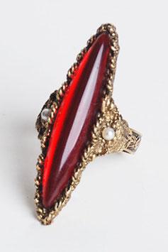 Red Navette Rhinestone Ring