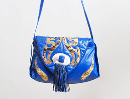 Blue Leather & Snakeskin Bag