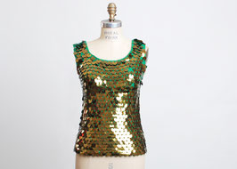Green & Gold Knit Sequin Top