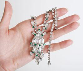 Crystal & Emerald Rhinestone Necklace