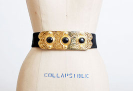 SOLD OUT - Black Suede Gold Plaque Belt