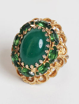Green Rhinestone Cocktail Ring