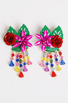 SOLD OUT - Painted Metal Flower Earrings