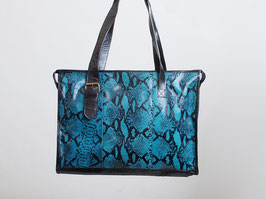 Blue Snakeskin Leather Bag