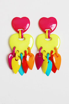Neon Heart Tassel Earrings