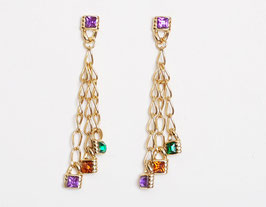 Gold Chain Rhinestone Earrings