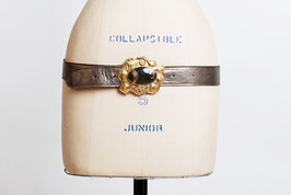 Silver Leather Belt Gold Modernist Buckle