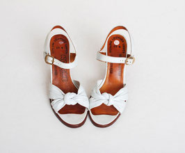 White Leather Pump Sandals