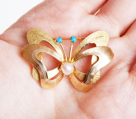 18k Gold Butterfly Pearl Turquoise Pin