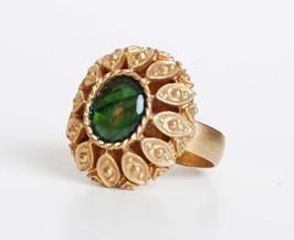 Green Mother of Pearl Gold Poison Ring