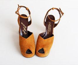 Camel Suede Platform Sandals