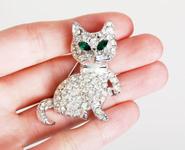 Rhinestone Silver Cat Pin