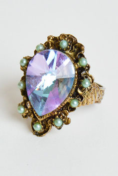 Blue Pear Crystal Cocktail Ring