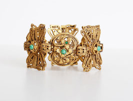 Gold Green Stone Cuff Bracelet