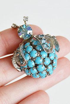 Regency Blue Rhinestone Beetle Pin