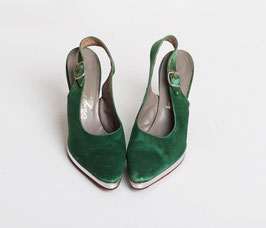 Green Satin Roger Vivier Pumps