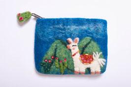 Zauberhafte kleine Filztasche mit Alpaka-Motiv und Reißverschluss